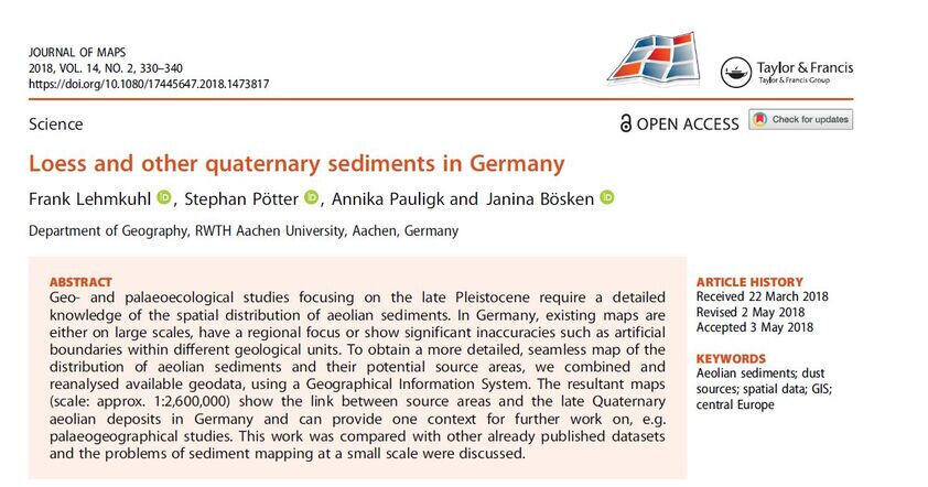 First page Loess and other quaternary sediments in Germany
